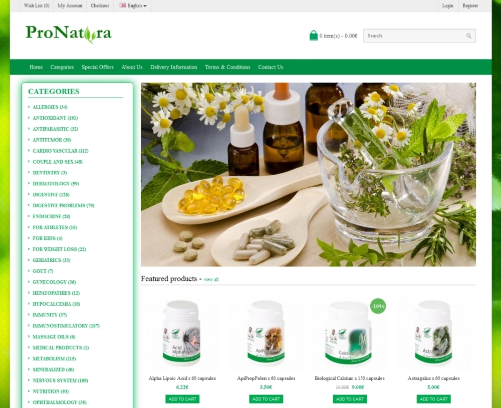 Online shop for natural products