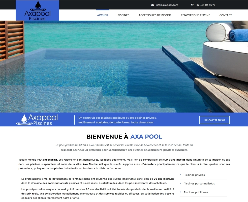 Web design for swimming pool construction services website