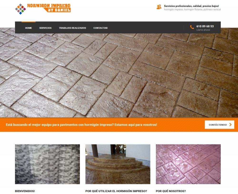 Website for a pattern imprimented concrete paving company